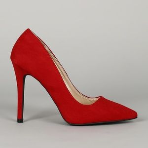 NEW Qupid Red Faux Suede Pumps High Heels 7